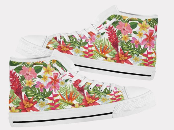 Tropical Leaves Shoes Floral Shoes Flower Hi Tops 6 Birthday Gifts Party Favors Custom Gift for Wife Girlfriend 753987682 6382