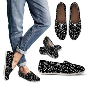 Black Music Note Design Women Casual Shoes 709814820 5304