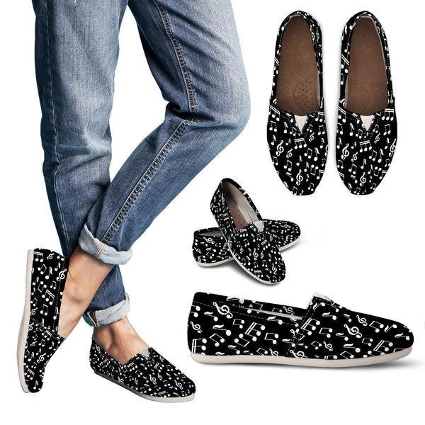 Black Music Note Design Women Casual Shoes 709814820 5304