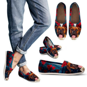 Boxer Dog Hearts Women Casual Shoes 723673469 5284