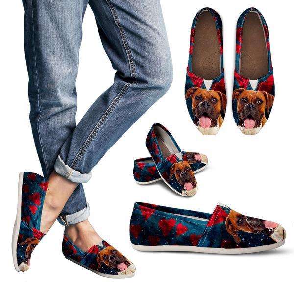 Boxer Dog Hearts Women Casual Shoes 723673469 5284