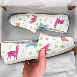 Cute Llama Shoes Llama Shoes Cute Shoes Women Canvas Shoes Womens Slip Ons Casual Shoes Llama Print Llama Gift Llama pattern 771004689 3492
