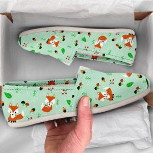 Fox Girl Shoes Fox Womens Shoes Cute Shoes Canvas Women Shoes Girls Slip Ons Casual Shoes Fox Lover Gifts Fox Print Pattern 761049576 2807