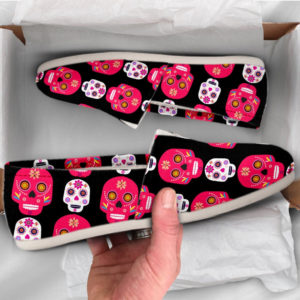 Day Of the Dead Sugar Skull Shoes Womens Casual Shoes Canvas Women Shoes Girls Slip Ons Casual Shoes Red Skull Shoes 761533306 2483