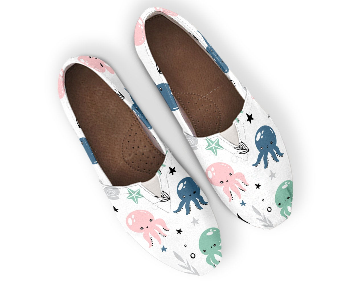 Cute Shoes Octopus  Print Canvas Women Shoes Casual Shoes Girls Slip Ons Cute Octopus Shoes Octopus Lover Gifts Womens Shoes