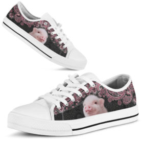 Pig Low Top Shoes License Plate Shoes for Mens, Womens Tennis Custom Shoes, Custom Low Top