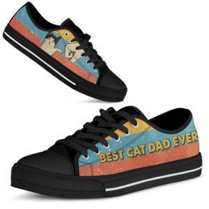 "Best Cat Dad Ever Sneakers - Black@ limiteditionshoes best cat dad ever black@low-top"" 185331"