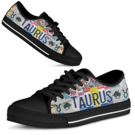 Taurus License Plates Low Top Shoes License Plate Shoes for Mens, Womens Tennis Custom Shoes, Custom Low Top