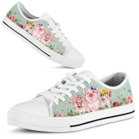 Pig Flower Color Low Top Shoes License Plate Shoes for Mens, Womens Tennis Custom Shoes, Custom Low Top
