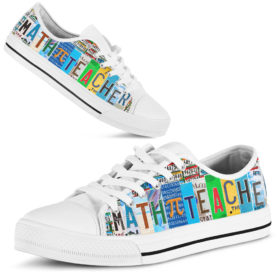 Math Teacher Shoes License Plate Shoes for Mens, Womens Tennis Custom Shoes, Custom Low Top