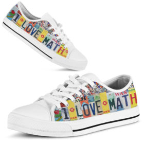 I love math license plates low top Shoes License Plate Shoes for Womens Tennis Shoes for Mens Custom Tennis Shoes, Custom Sneaker