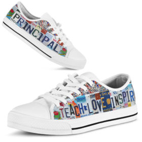 Principal teach love inspire license plates low top Shoes License Plate Shoes for Womens Tennis Shoes for Mens Custom Tennis Shoes, Custom Sneaker