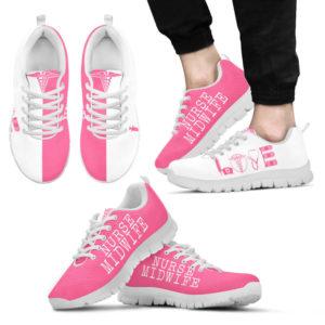 NURSE MIDWIFE- LOVE PINK WHITE@ proudnursing NURSEMIDWIFELOVEPINKWHITE5644DG@sneakers 97656