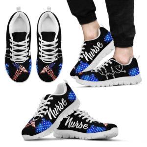 nurse art shoes (american flag)@ proudnursing nursemkf14@sneakers 87587