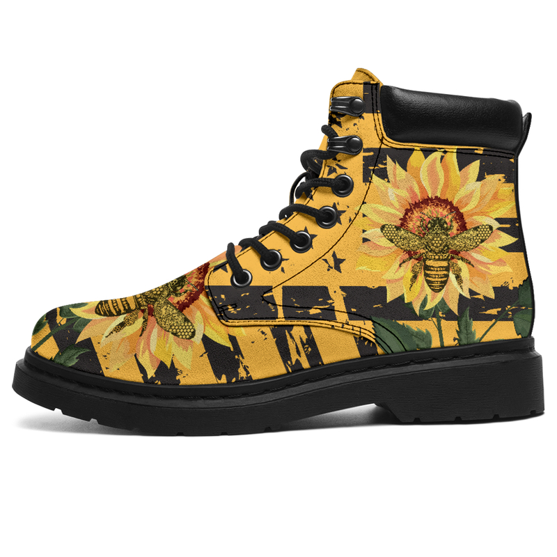 Bee And Sunflower Vegan Boots, All