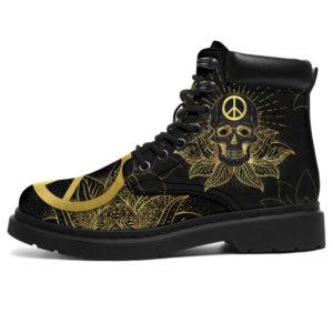 """Hippie Skull Lotus All Season Boots@ bonloves hippie 18@all-season-boots"""" 302634"""