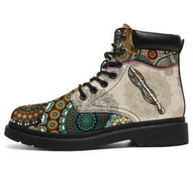 Dulcimer - Vintage Mandala  Asboot Sky Kd Vegan Boots, All-Season Boots For Womens, Mens, Personalized Boots, Customized Boots