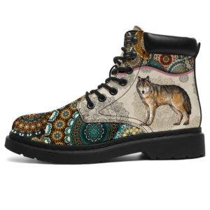 "Wolves - Vintage Mandala ASBOOK SKY KD@ animallovepro DGDGFG@all-season-boots"" 296654"