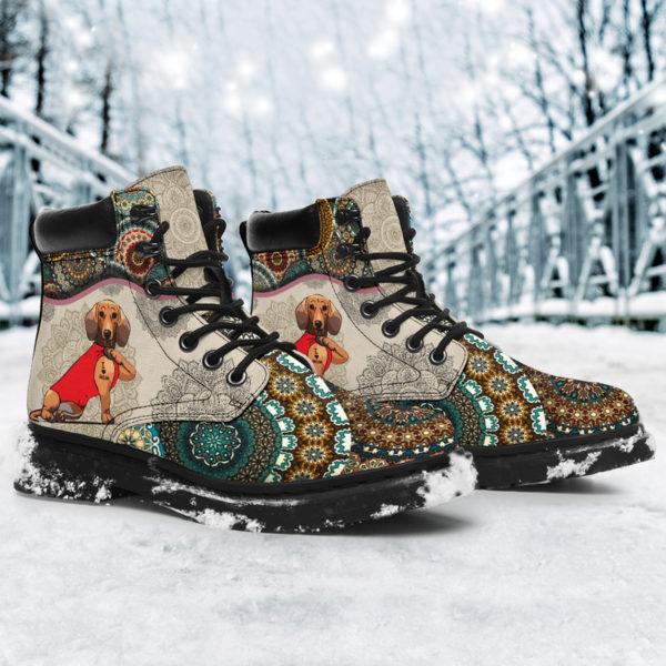 "Dachshund - Vintage Mandala ASBOOT SKY@ animallovepro dfgdg@all-season-boots"" 294727"