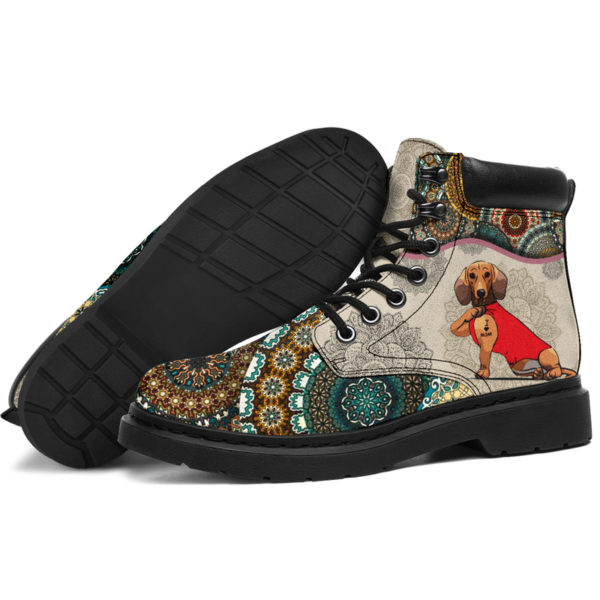 "Dachshund - Vintage Mandala ASBOOT SKY@ animallovepro dfgdg@all-season-boots"" 294724"