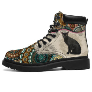 "Black Oriental kitty - Vintage Mandala ASBOOT KD@ animallovepro fhfghgj@all-season-boots"" 294538"