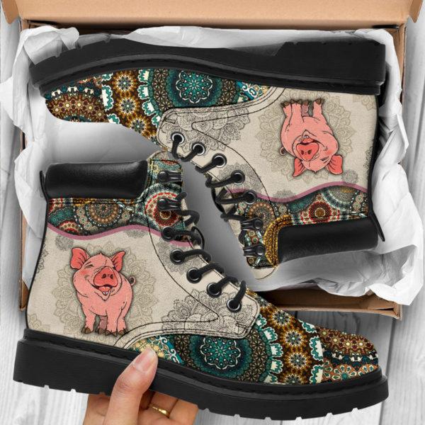 "Pig - Vintage Mandala ASBOOT SKY@ animallovepro dfszd@all-season-boots"" 294040"