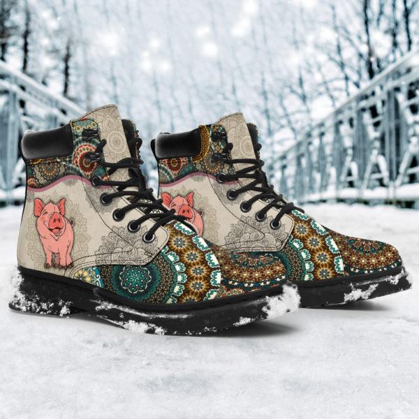 "Pig - Vintage Mandala ASBOOT SKY@ animallovepro dfszd@all-season-boots"" 294037"