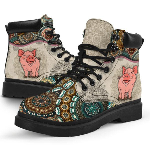 "Pig - Vintage Mandala ASBOOT SKY@ animallovepro dfszd@all-season-boots"" 294035"
