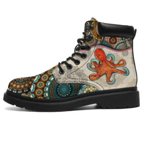 Octopus - Vintage Mandala Asboot Vegan Boots, All-Season Boots For Womens, Mens, Personalized Boots, Customized Boots