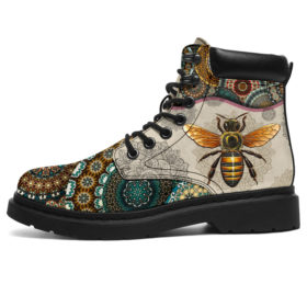 Bee - Vintage Mandala  Asboot Sky Vegan Boots, All-Season Boots For Womens, Mens, Personalized Boots, Customized Boots