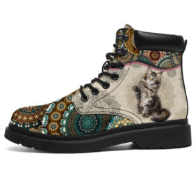 Maine Coons Cat - Vintage Mandala Asboot Kd Vegan Boots, All-Season Boots For Womens, Mens, Personalized Boots, Customized Boots