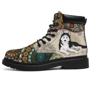 "Husky Dog- Vintage Mandala ASBOOT KD@ animallovepro hjhkhk@all-season-boots"" 290952"