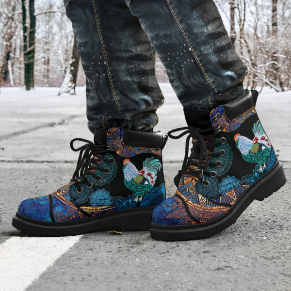 """Chicken flower mandala as boots LQT@ animallovepro Chickenfghfjeew@all-season-boots"""" 290867"""