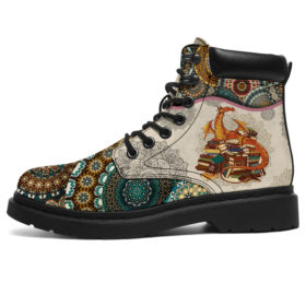 Dragon - Vintage Mandala Asboot Vegan Boots, All-Season Boots For Womens, Mens, Personalized Boots, Customized Boots