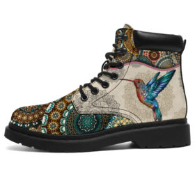 Hummingbird - Vintage Mandala Asboot Sky Vegan Boots, All-Season Boots For Womens, Mens, Personalized Boots, Customized Boots