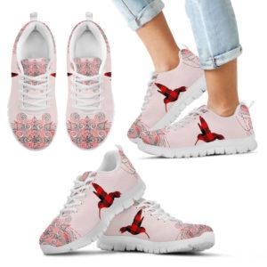 Hummingbird Mandala Tattoo Red Plaid Card Sneaker - SR 395446