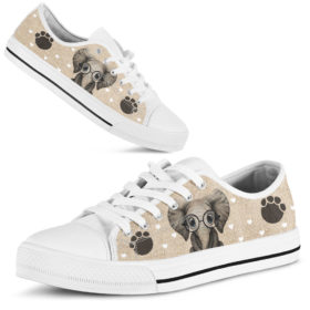 Elephant Heart Low Top Lqt Shoes for Mens, Womens Tennis Custom Shoes, Custom Low Top, Personalised Sneaker Shoes