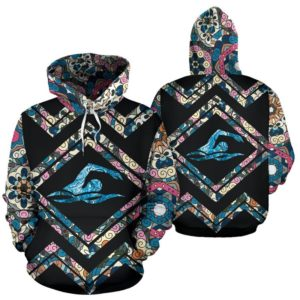 SWIMMING LINE PATTERN FLOWER FULL HOODIE - LQT 354089