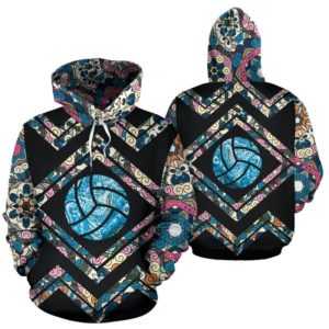 VOLLEYBALL LINE PATTERN FLOWER FULL HOODIE - LQT 353335