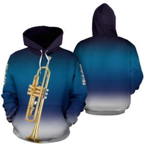 Trumpet Background Gradient White Blue Full Hoodie - TL 352082