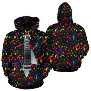 electric guitar paint splatter full hoodie- LQT 351952
