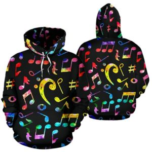 Music bass clef Note Color Black full hoodie 350132