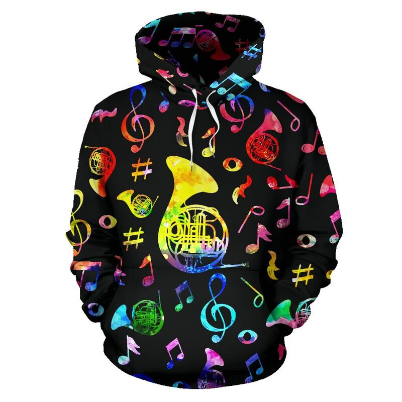 french horn Note Color Black full hoodie 348600