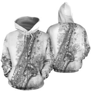 saxophone abstract drawing zip hoodie 348234