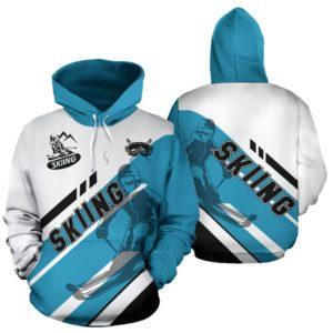 skiing - blue interleaved black line full hoodie - SR 348208