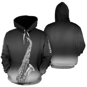 Saxophone Background Gradient White Blue Full Hoodie - TL 348156