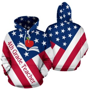4TH GRADE TEACHER USA FLAG HOODIE 346517
