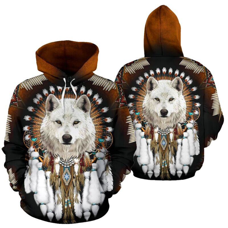 Wolf - NATIVE AMERICAN ROSETTE - FULL HOODIE NAL@ animallovepro wolfntvamc714@hoodies 344755