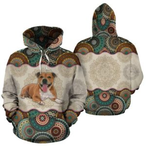 Pit Bull - Vintage Mandala Full Hoodie SKY KD@ animallovepro gdfg@hoodies 344599