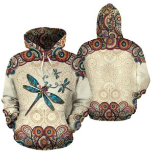 Dragonfly henna flower color full hoodie LQT@ animallovepro Dragonfly4666cdf@hoodies 343455